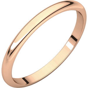 Ladies 14K Rose Gold  Half Round Wedding Bands
