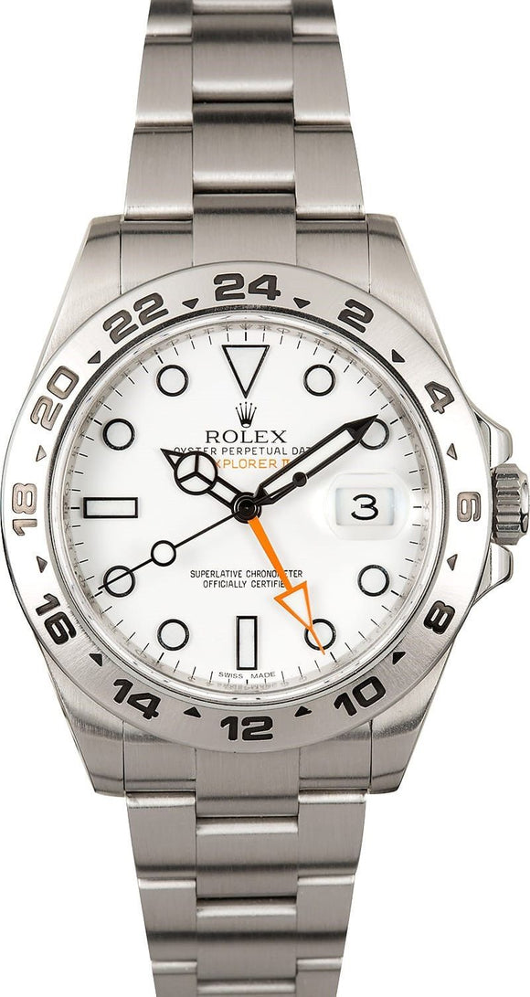 GENTS ROLEX SPORT EXPLORER II WATCH 42MM MODEL # 216570 - WHITE DIAL, OYSTERLOCK BRACELET