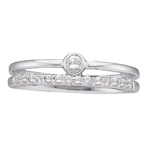 14k White Gold Round Diamond Solitaire Bridal Engagement Ring 1/5 Cttw
