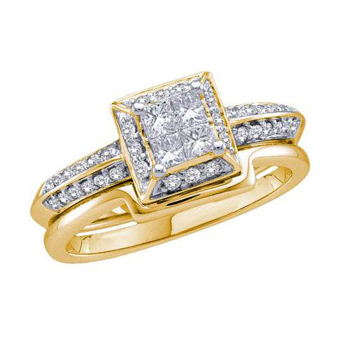 14k Yellow Gold Princess Diamond Bridal Wedding Ring Set 1/2 Cttw