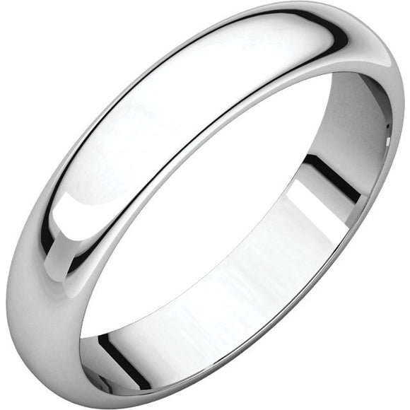 Ladies 14K White  Half Round Wedding Bands