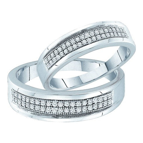 10k White Gold Round Diamond Matching Bridal Wedding Band Set 1/4 Cttw