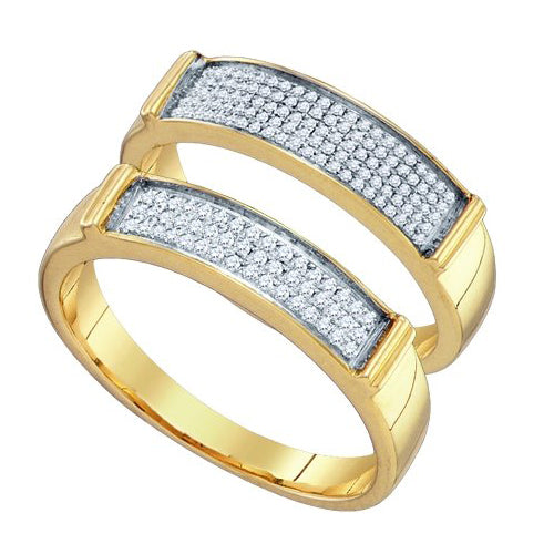 10k Yellow Gold Round Diamond Matching Bridal Wedding Band Set 1/3 Cttw