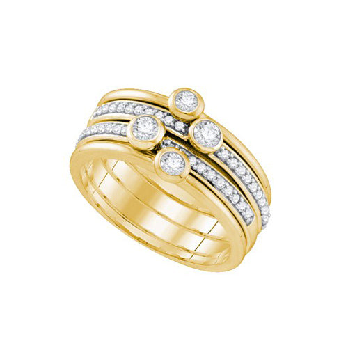 10k Yellow Gold Round Diamond Stackable Band Ring 1/2 Cttw
