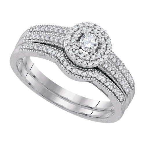 10k White Gold Round Diamond Halo Bridal Wedding Ring Set 1/3 Cttw