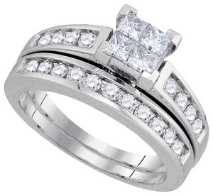 14k White Gold Princess Diamond Bridal Wedding Ring Set 1 Cttw