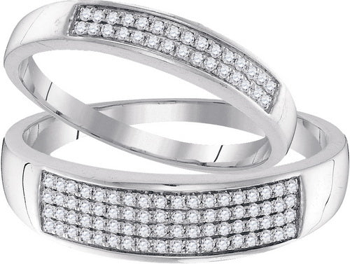 10k White Gold Round Diamond Matching Wedding Band Duo Set 1/3 Cttw