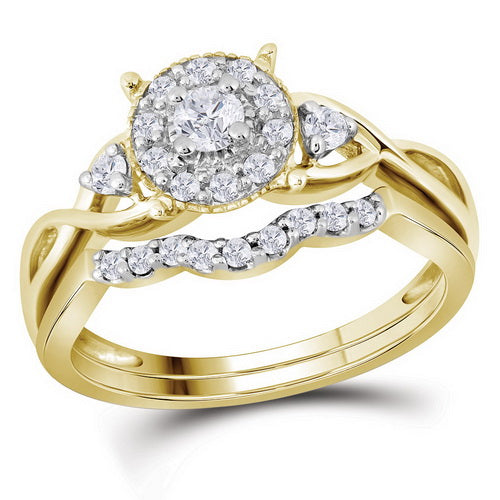 10k Yellow Gold Round Diamond Halo Twist Bridal Wedding Ring Set 1/3 Cttw