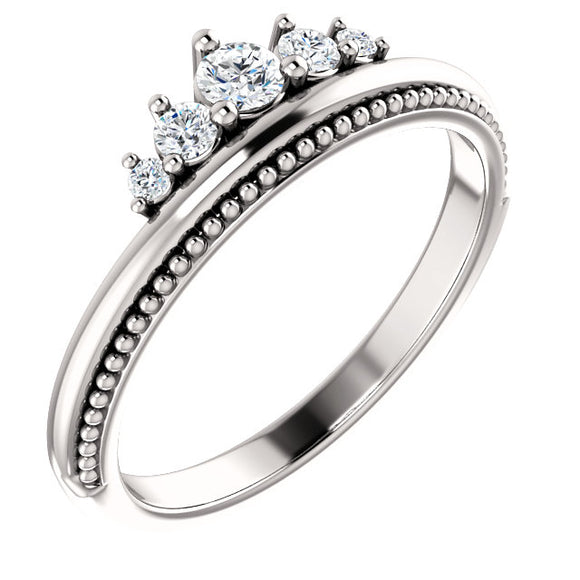 14K White 1/5 CTW Diamond Stackable Crown Ring