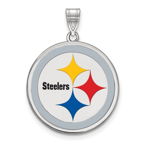 Sterling Silver Pittsburgh Steelers Large Enamel Pendant