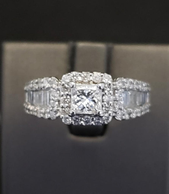 1.50 ct Diamond Engagement Ring  14k White Gold