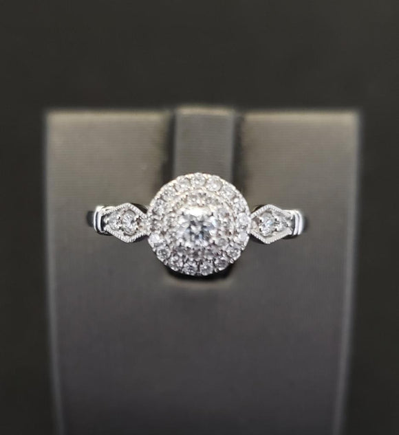 .33 ctw Vintage Design Diamond Engagement Ring 14k White Gold