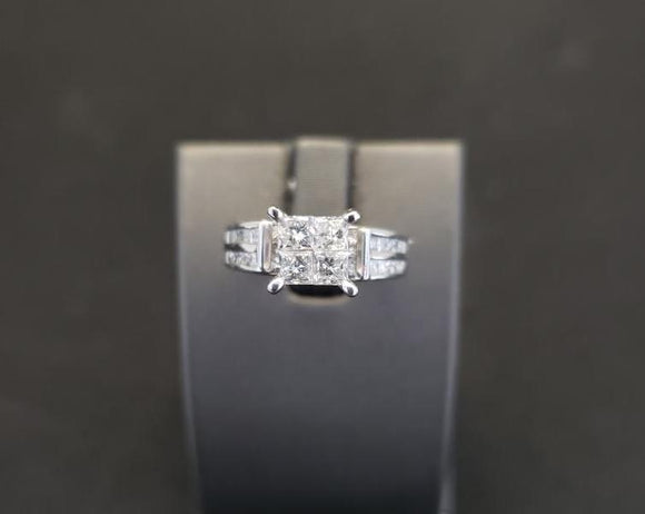 0.78 ct Diamond Engagement Ring 14k White Gold