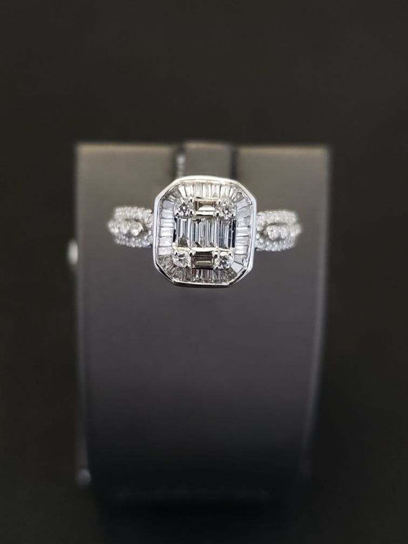 0.87 ctw Diamond Engagement Ring 14K White Gold