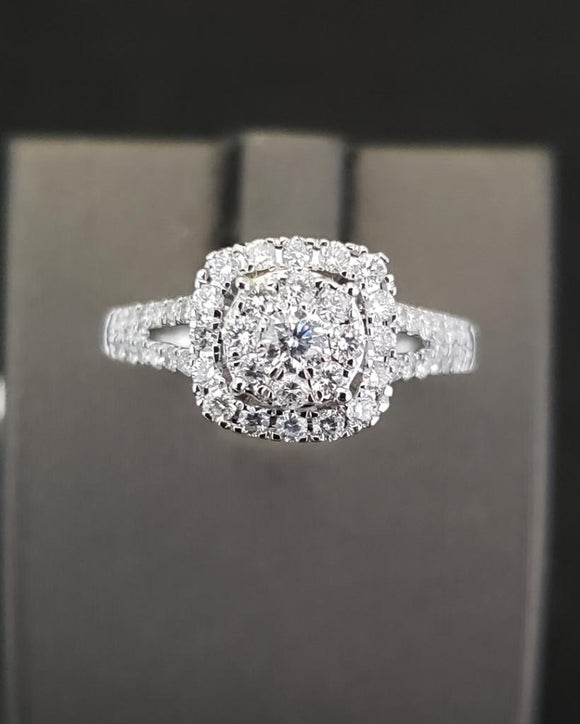 .75 CTW 14KT White Gold Diamond Engagement Ring