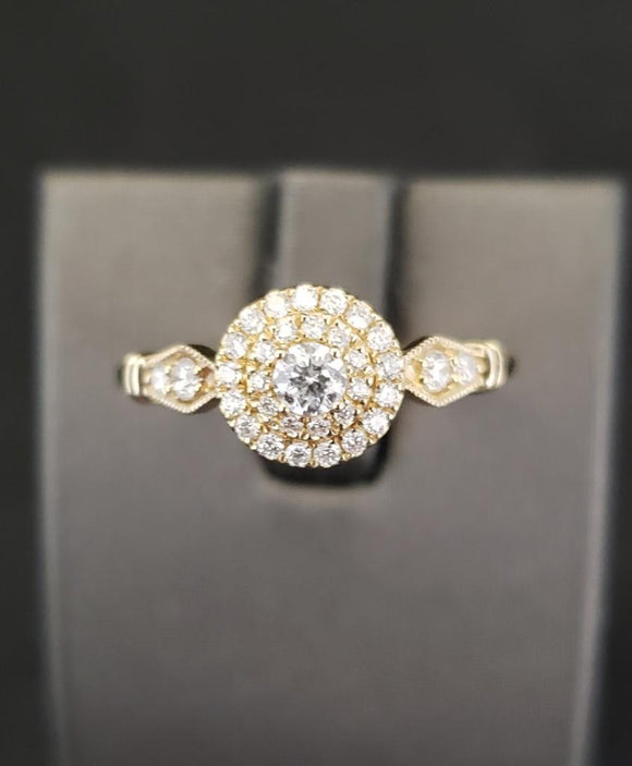 .33CTW 14KT Yellow Gold Diamond Engagement Ring