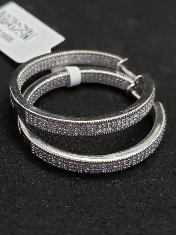 1CT 10KT White Gold Diamond Hoops