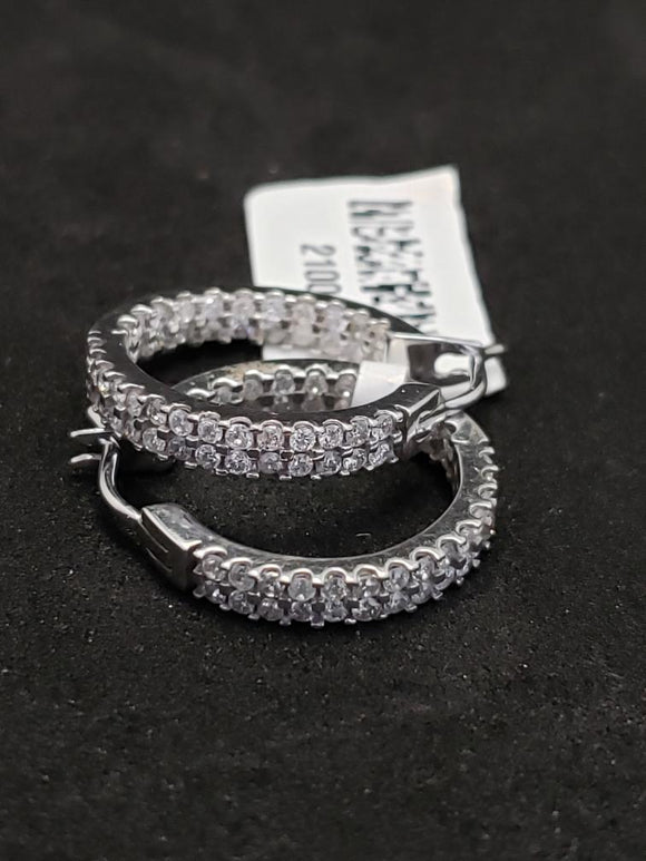 1CT Diamond 10KT White Gold Diamond Hoop Earrings