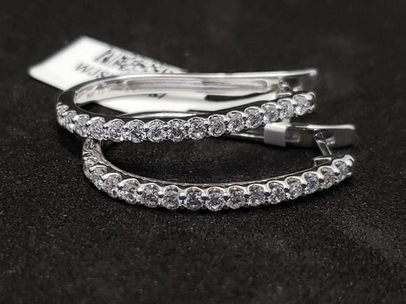 1CT 14KT White Gold Diamond Hoop Earrings