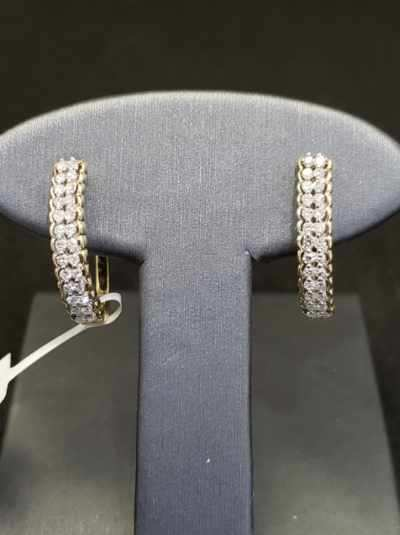.60CTW Diamond 10KT Yellow Gold Hoop Earrings