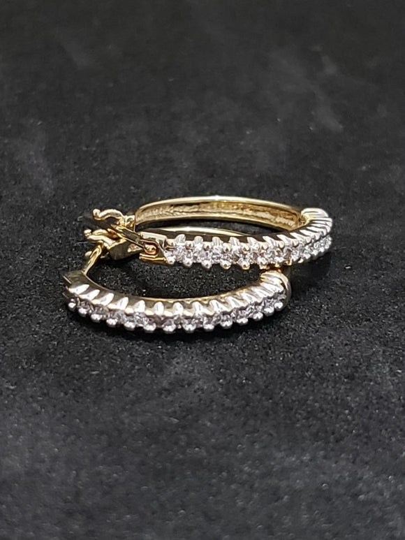 .25CTW Diamond 14KT Yellow Gold Hoop Earrings
