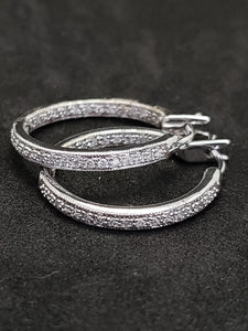 .50CTW Diamond Inside/Outside 14KT White Gold Hoop Earrings