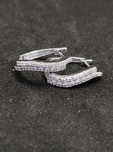 .50CTW 14KT White Gold Diamond Hoop Earrings