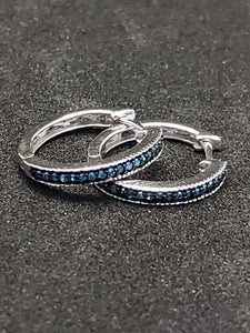 .10CTW Blue Diamond Sterling Silver Hoops