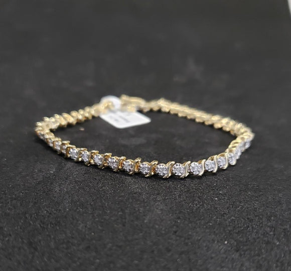.75CTW 14KT Yellow Gold Diamond Tennis Bracelet