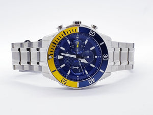 Bulova Stainless Steel Chronograph Blue/Yellow Bezel Bracelet Watch