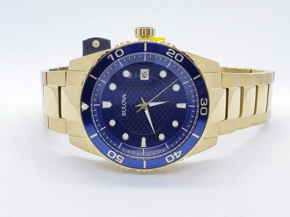Bulova Sport Blue Dial Yellow Gold-tone Men's Watch