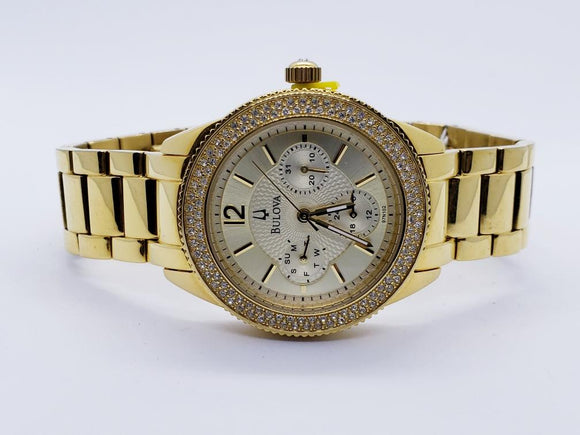 Bulova Crystal Quartz Movement Gold Dial Ladies Watch