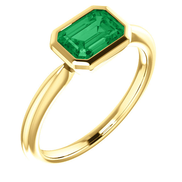 14K Yellow 7x5mm Emerald Ring