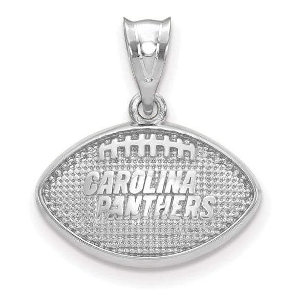 Sterling Silver LogoArt Carolina Panthers Football With Logo Pendant
