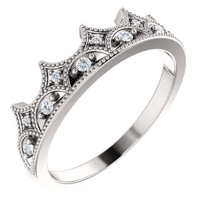 14K White 1/8 CTW Diamond Crown Ring