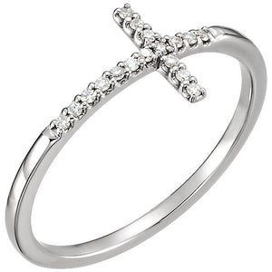 14K White .08 CTW Diamond Sideways Cross Ring