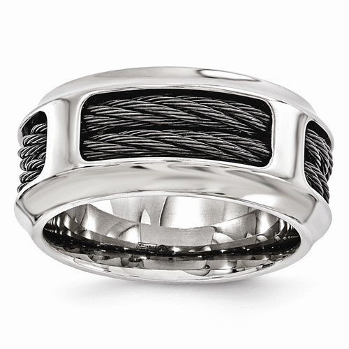 Edward Mirell Stainless Steel And Black Ti Cable 10.75mm Band