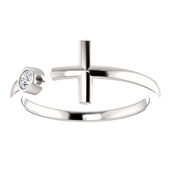 14K White .06 CTW Diamond Negative Space Cross Ring