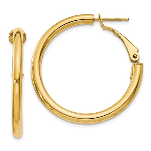 14k 3x25mm Polished Round Hoop Earrings