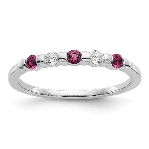 14k White Gold Diamond With Ruby Band