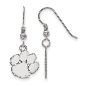 Sterling Silver LogoArt Clemson University Small Dangle Earrings