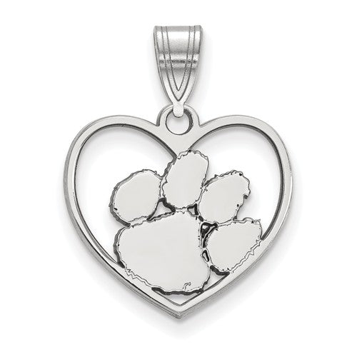 Sterling Silver LogoArt Clemson University Pendant In Heart