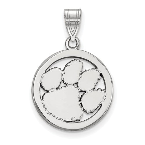 Sterling Silver LogoArt Clemson University Med Pendant In Circle