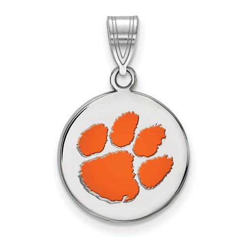 Sterling Silver LogoArt Clemson University Medium Enamel Disc Pendant