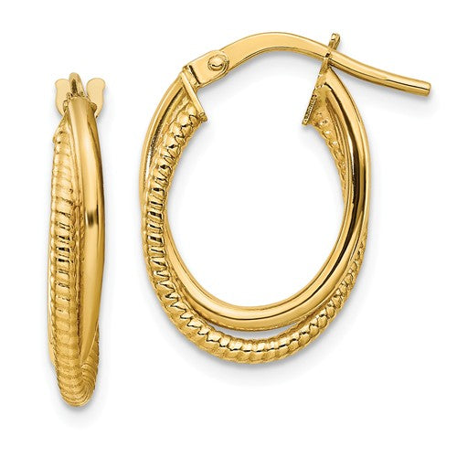 14k Polished Textured Double Hoops