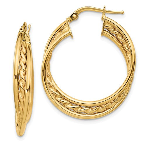14k Polished Rope Twisted Hoop Earrings