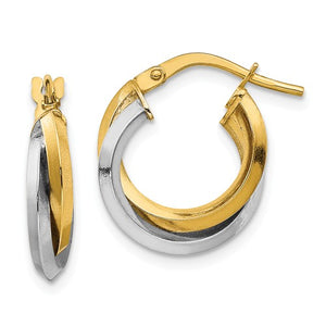 14k Two Tone Polished Double Hoops