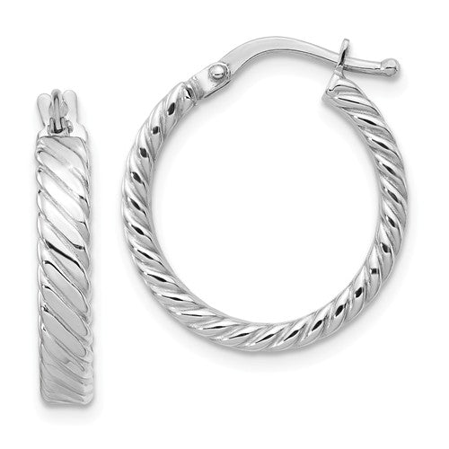 14K White Gold Patterned Hoop Earrings