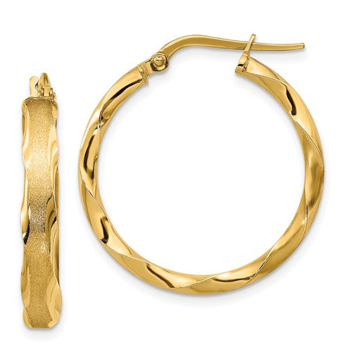 14K Satin And Polished Scalloped Edge Hoop Earrings