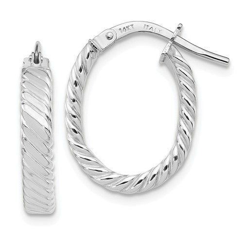 14K White Gold Patterned Oval Hoop Earrings